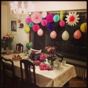 Geburtstagsdekoration Wabenball, Ballons, Fächer