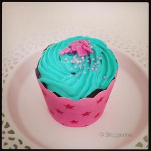Geburtstagsmuffin türkis und pink