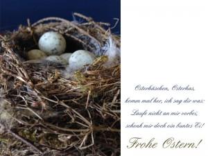Frohe Ostern Vogelnest mit Eiern