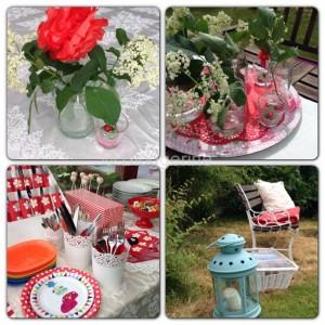 diy dekoration rot weiß  kindergarten party