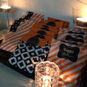 Halloween Trick or treat bags diy süßes oder Saures für Halloween orange schwarz weiß