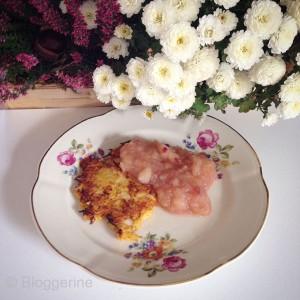 Kürbis-Kartoffel-Puffer selber machen Rezept Kochrezept Kartoffelpuffer Apfelmus
