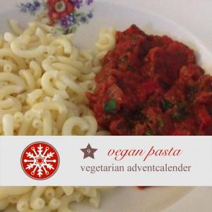 diy adventskalender vegetarisch kochen rezept  vegane Pasta hartweizengrießnudeln mit tomatensauce vegan ernähren
