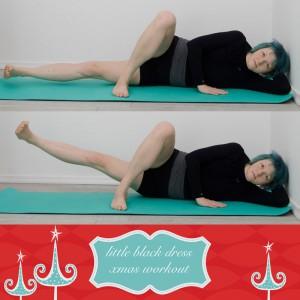 weihnachtsworkout, kampf dem Speck, weihnachtsspeck weg, functional fitness, das kleine schwarze, Oberschenkel, innere Oberschenkel, Seitenlage, Widerstandstraining