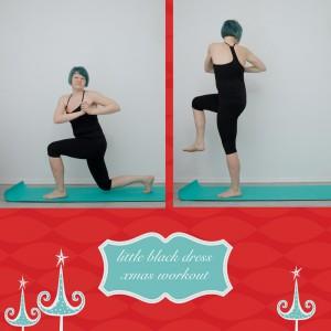weihnachtsworkout, kampf dem Speck, weihnachtsspeck weg, functional fitness, das kleine schwarze, Bauch, Taile, Bauchtraining, stehende Übung, lunge with leg lift, Auffallschritt mit Drehung