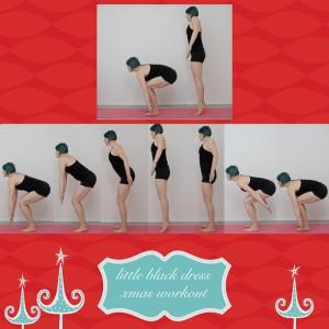 weihnachtsworkout, kampf dem Speck, weihnachtsspeck weg, functional fitness, das kleine schwarze,  stehende Übung, squat, hindusquat, Beine, Po,  Oberschenkel
