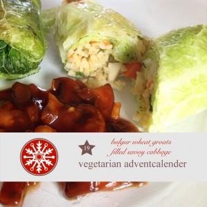 diy adventskalender vegetarisch kochen rezept, Wirsing, Bulgur, Wirsingroulade, pilzragout