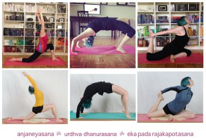 Yoga progress Rückbeugen backbend Halbmond lunge wheel rad Taube königstaube king pigeon
