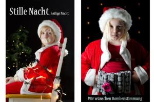 Weihnachtskarte Stille Nacht, heilige Nacht Bombenstimmung unterm Tannenbaum