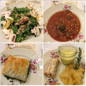 Vegetarisches 4 Gänge Weihnachtsmenü, Salat, Suppe, Auflauf, Dessertvariationen, vegetarisch kochen, Weihnachten