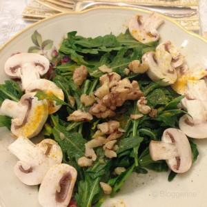 Vegetarisches 4 Gänge Weihnachtsmenü, Salat, Suppe, Auflauf, Dessertvariationen, vegetarisch kochen, Weihnachten, Salat, Rauke, Rukula, Champignons, Arganöl, Kurkuma