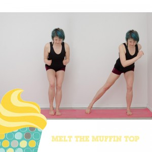 Melt the muffin top, Kampf dem Speck, BBP, Fitness, fit sein, functional fitness, zuhause, workout, Übungen im Stehen, Beine