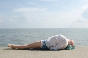 Yoga überall, Yoga, Yoga everywhere, Strand, Wilhelmshaven, Fischposition, fish, Herzöffner, heart opener