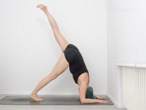 Handstand, how to handstand, wie mache ich einen Handstand, Armbalance, Inversion, Umkehrhaltung, Yoga, tutorial, Delphin, dolphin pose, Schulteröffner, ein Bein