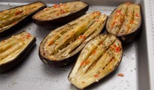 vegetarisch kochen, Veganer, kochen, Kochrezept, Gemüse, Gemüsebeilage, Auberginen, gebackene Auberginen, schnelle Küche, einfach kochen
