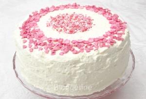 Torte, Geburtstagstorte, Hochzeitstorte, selber backen, backen, Rezept, Backrezept, Farbverlauf, Regenbogentorte, rosa, weiß, Herzchen, Ummantelung, süß, Buttercreme