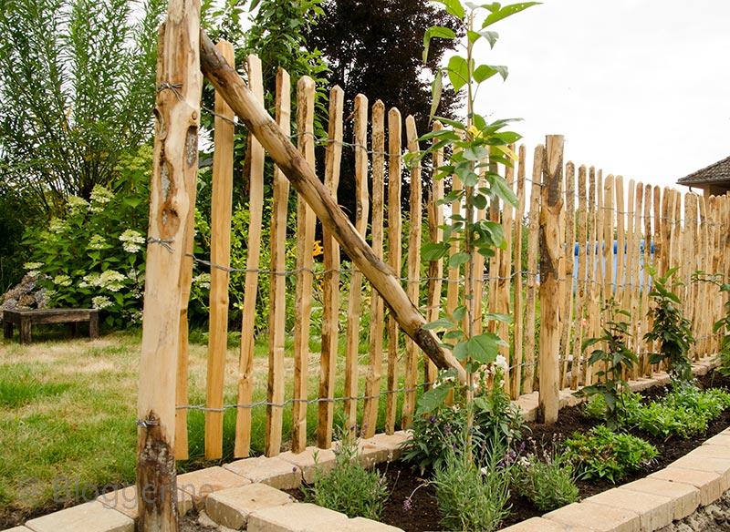Bauerngarten, Gemüsegarten, Garten, Zaun, Staketenzaun, Holzzaun, Kastanie, Randsteine, Rasenkante, Naturzaun, naturnaher Garten, selber machen