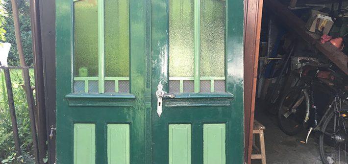 Haustür, Bauernhaustür, Holztür, Eingangstür, Glastür, Antik, Antiquität, grün, shabby