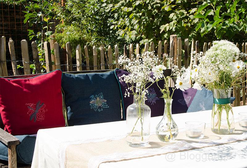 Gartenparty, Party, Garten, Hochzeit, Petersilienhochzeit, Sitzgruppe, Kissen, selber machen, Dekoration, Sommerparty, Feier, Fest