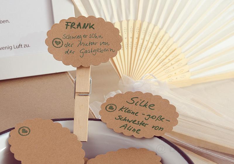 Hochzeit, Hochzeitsparty, Petersililenhochzeit, Gäste, Namenschild, Glaslabel, Armband, Fächer, Gastgeschenke, diy, selber machen, Hochzeit planen