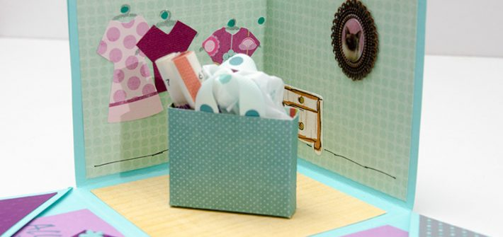 Papier, paperbox, Geschenkebox, Explosionbox, aufklappbare Box, basteln, diy, Scrapbook, türkis, lila, rosa, Geldgeschenk, Gutschein, Shoppinggutschein, selber machen
