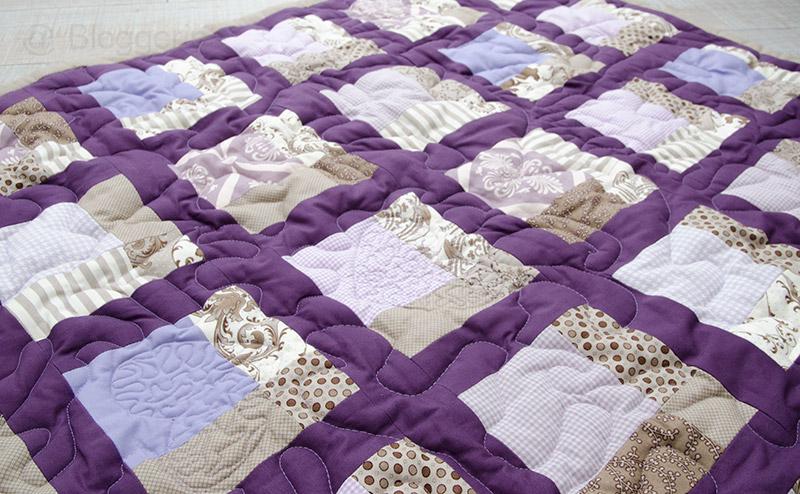 Quilt, Babyquilt, Babypatchworkdecke, Patchworkdecke, Decke, Geburt, Baby, Mädchen, lila, braun, Geburtsgeschenk, Geschenk, Taufe, Taufgeschenk, nähen, quilten, selber machen, individuell, personalisiert