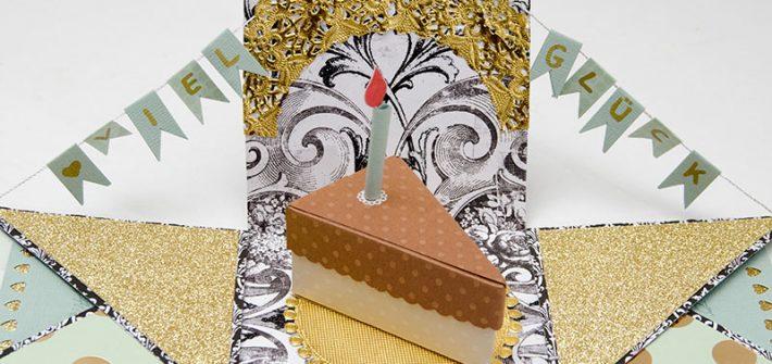 diy, selber machen, basteln, Geschenkbox, Gutscheinbox, Explosionsbox, 50. Geburtstag, gold, schwarz, individuell