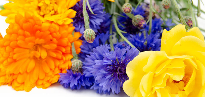 Tee, Kopfnote, Ringelblume, Kornblume, Rose, lila, orange, gelb, diy, selber machen, Sommerblumen, Kräutertee