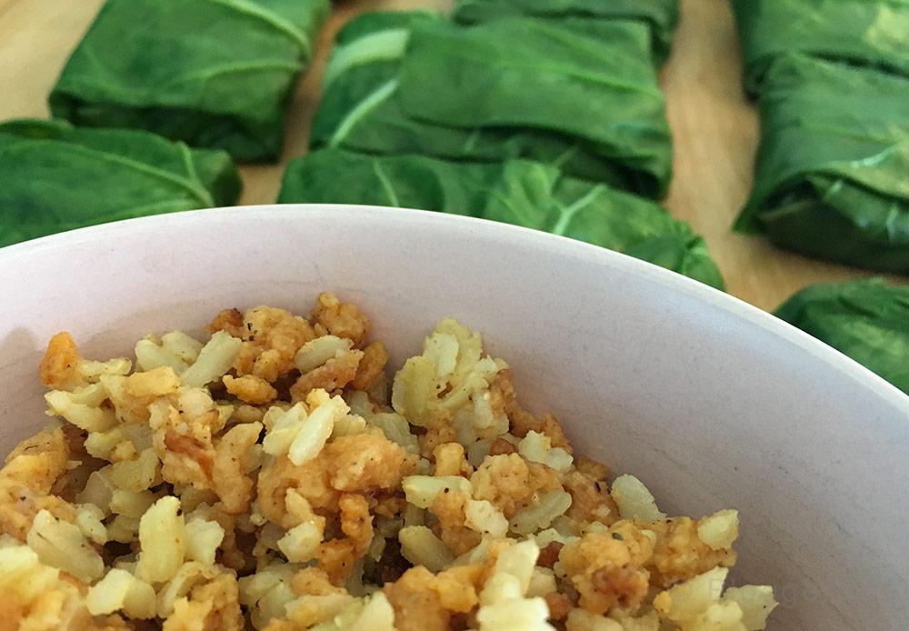 Rezept, vegan, vegetarisch, Sommerrezept, kochen, Mangold, Soja, Reis, Fingerfood