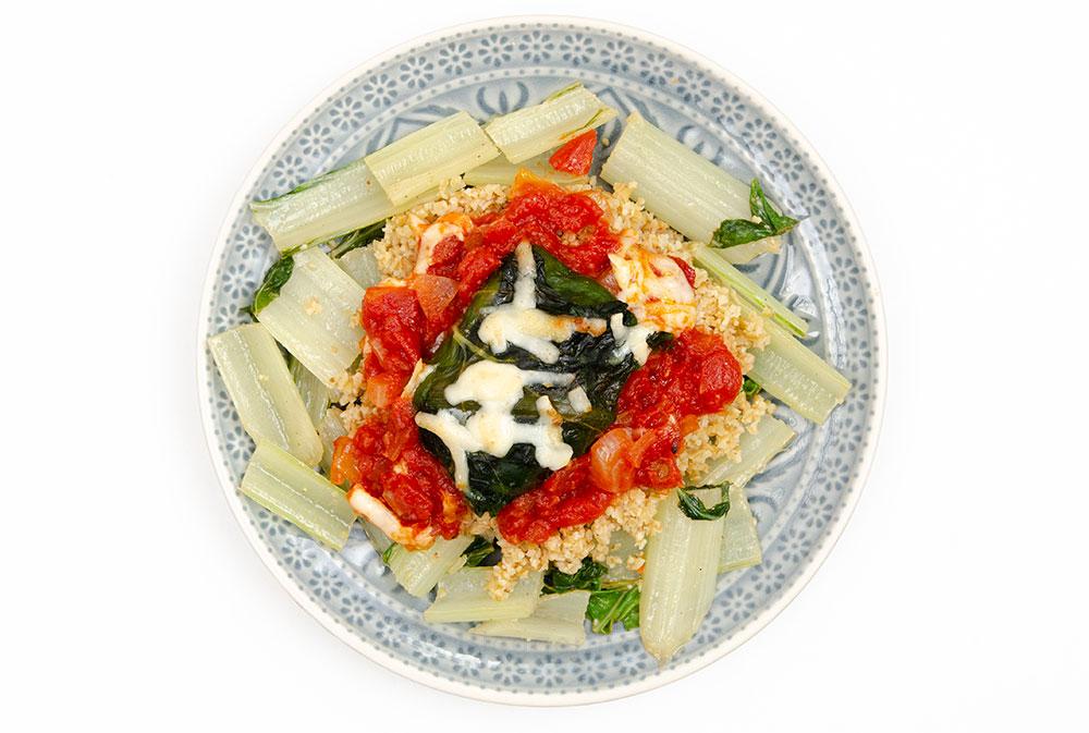 Rezept, Kochen, Vegetarier, vegetarisch, Mangold, Mangoldröllchen, Tomaten, Käse, Kartoffel